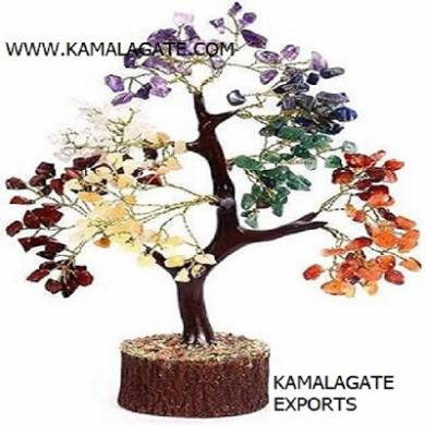 Seven Chakra 300Chips Tree with Artificial Wooden Roots