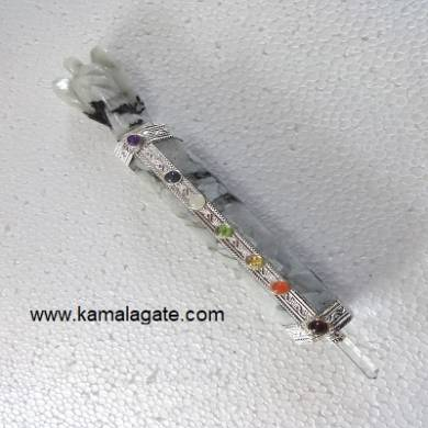 7Chakra Rainbow Moonstone Healing Wands With Angel