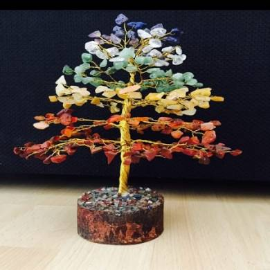 Seven Chakra Gemstone Chips Tree with thick Roots