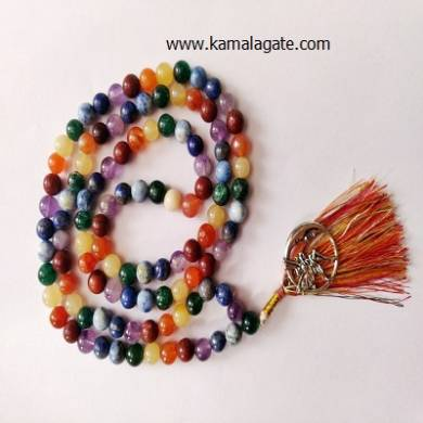 7 Chakra Jap Mala 8mm Beads with silver charms