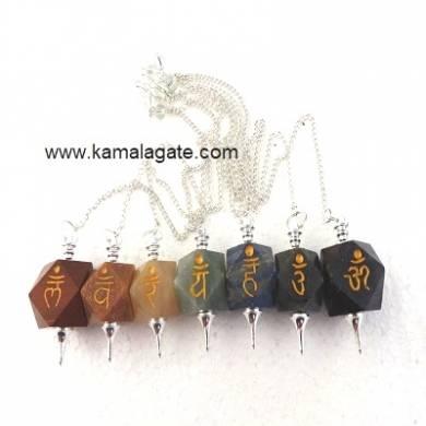 7 Chakra Sanskrit Set Pentagram Pendulum  (SILVER)