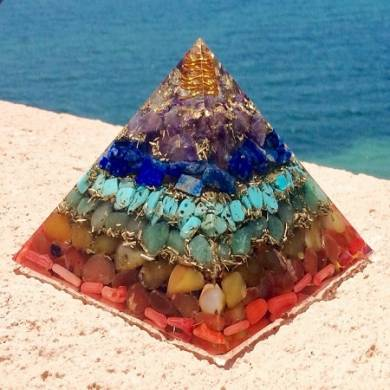 7 Chakra Layered Orgonite Pyramid
