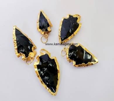 Black Agate Gemstone Arrowhead Point With Golden Electroplating Pendant