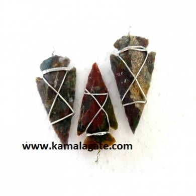 Agate Wire Wrap Arrowheads Pendent