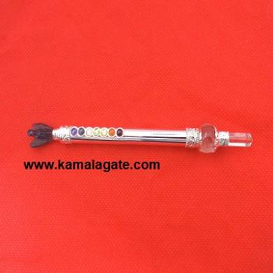Amethyst Angle With Chakra Metal Healing Stick