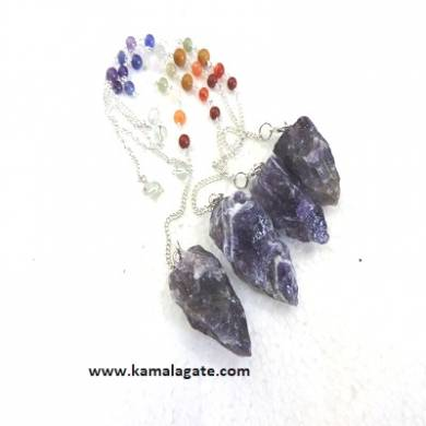 Amethyst Cluster Pendulum With Chakra Chain