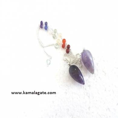 Amethyst Drop Pendulums With Chakra Chain