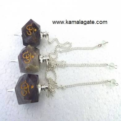 Amethyst Hexagon Engraved Om Pendulum