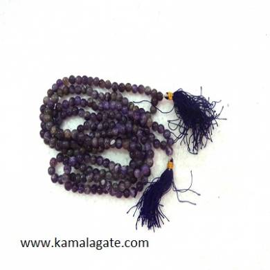 Amethyst 8mm Beads Jap Mala With Silver Charms