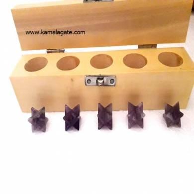 Amethyst Merkaba Star Five Pcs Geometry Sets With Wooden Box