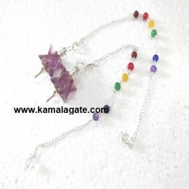 Amethyst Merkaba Star Pendulum With 7Chakra Chain