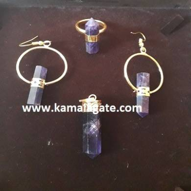 Amethyst Pencil Point Pendent Set in Golden