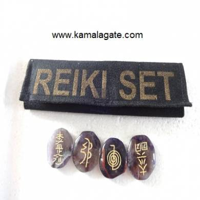 Engraved Amethyst Reiki sets With Valvet Purse