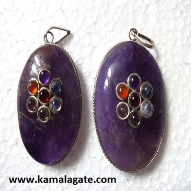 Amethyst Seven Chakra stone embedded Palm cabs frame pendant