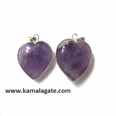 Amethyst Small Puffy Hearts Frame pendants