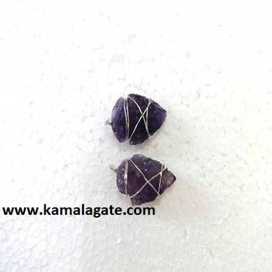 Amethyst Wire Wrap Arrowheads Pendent