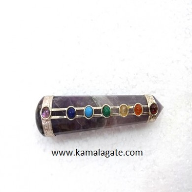 Amethyst Special Shape Seven Chakra Faceted Healing Sticks