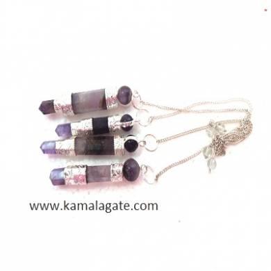 Amethyst Stick Pendulum Star(SILVER)