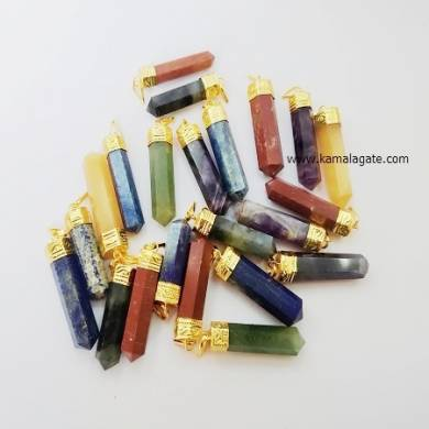 Assorted Crystal Point Golden Cab Pendant