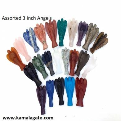 Assorted Gemstone 3 Inch Angels