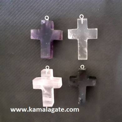 Assorted Gemstone Cross Pendants