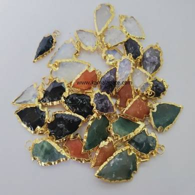 Assorted Gemstone Arrowhead Point Pendant with Golden Electroplating