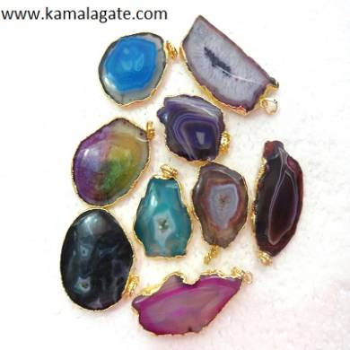 Assorted Slice Gemstone Pendent With Electroplating (BIG)