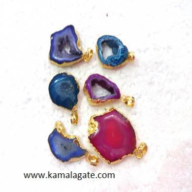 Assorted Slice Gemstone Pendent With Electroplating
