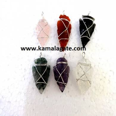 Assorted Wire Wrap Arrowheads Pendents