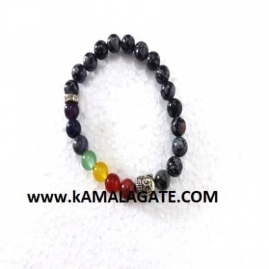 Bhuddha SnowFlake Obsidean Chakra Bracelets
