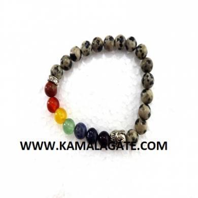 Bhuddha Dalmation Jasper Chakra Bracelet