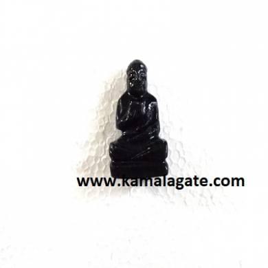 Bhuddha Sculpture Black Agate Gemstone