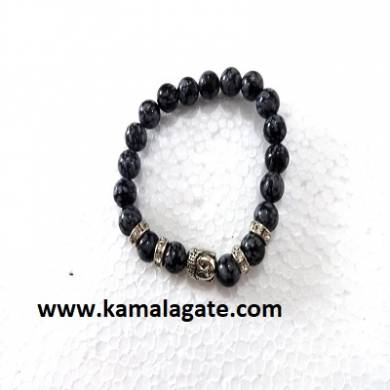 Bhuddha SnowFlake Obsidean Bracelets