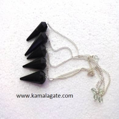Black Turmoline Faceted pendulums