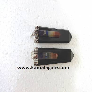 Black Agate Chakra Bonded with Flat Pendents