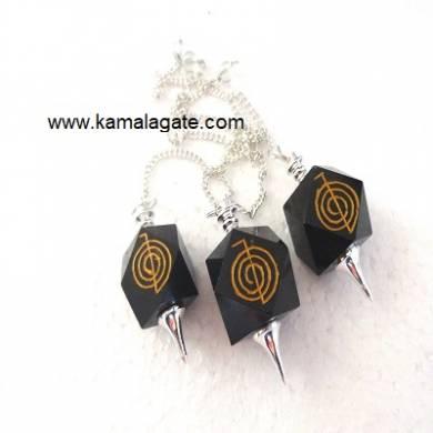 Black Agate Cho Ko Reiki Pendulum  (SILVER)