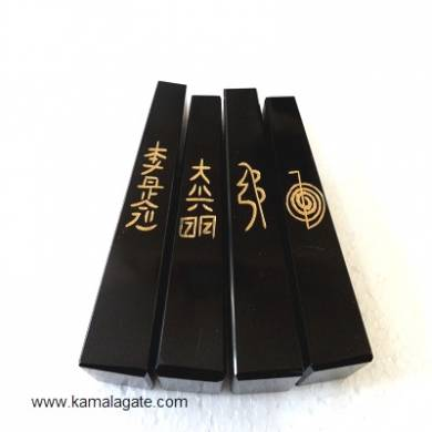Black Agate Engraved Reiki Tower