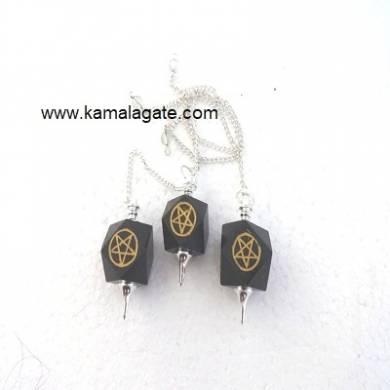 Black Agate Pentagram Pendulum (SILVER)