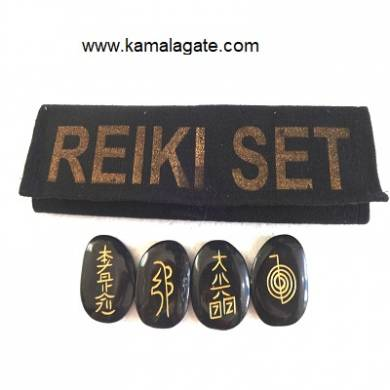 Black Jasper  Reiki Sets With Valvet Purse