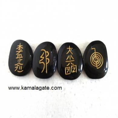 Black Jasper Reiki Engraved Sets