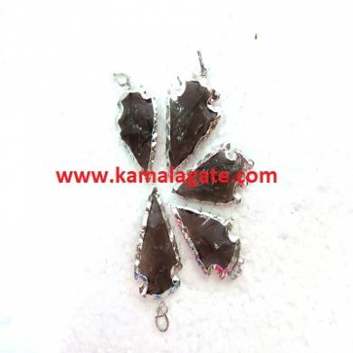 Black Obsidean Arrowhead with Silver Electroplating Pendants