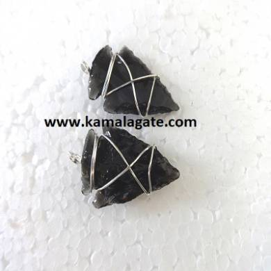Black Obsidean Wire Wrap Arrowheads Pendents