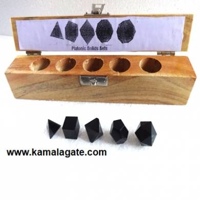 Black Turmoline Five Pieces Geometry Sets With Wooden Box
