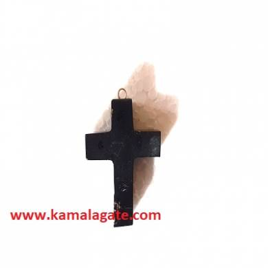 Black Turmoline Gemstone Cross Pendant