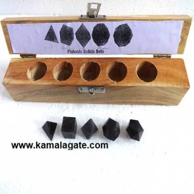 Blue Aventurine Five Pieces Geometry Sets With Wooden Box