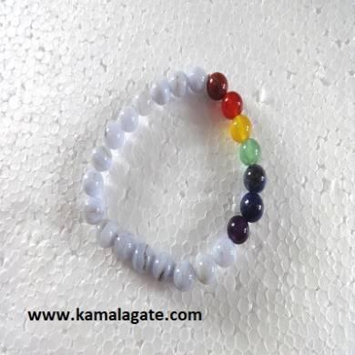 Blue Lace Plain Elastic Chakra Bracelets