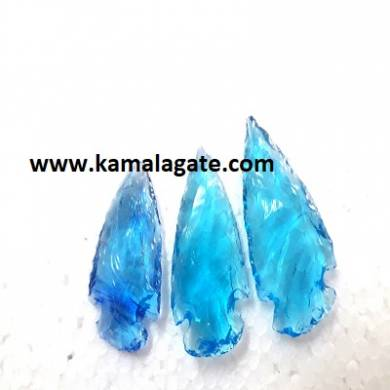 Blue Color Glass Arrowheads