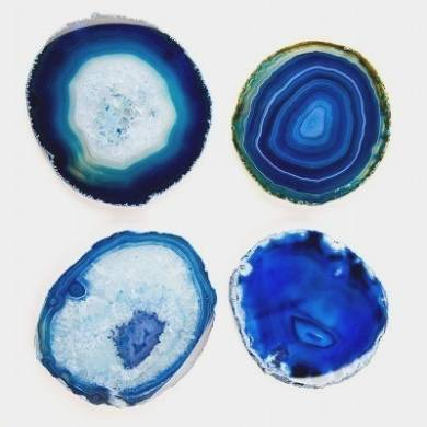 Blue Agate Coaster Slices with Electroplating 3-4 inch