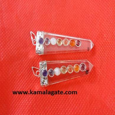Chakra Clear Crystal Quartz  Flats Pendents