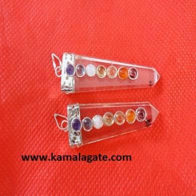 Chakra Clear Crystal Quartz  Flats Pendents
